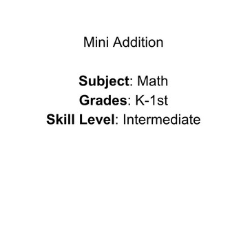 Mini Addition Lesson