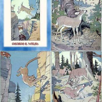 4 Classic Fairy Tale Illustrations by EDWIN J. PRETTIE from THE ADVENTURES OF WHITETAIL THE DEER