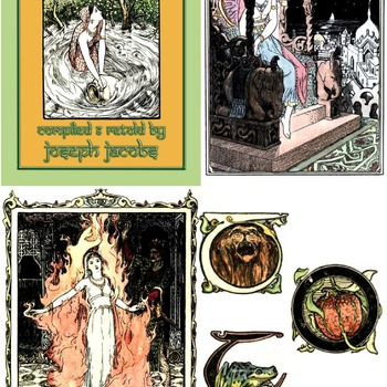 61 Colour Images and 30 Illuminated Capitals from INDIAN FAIRY TALES by John D Batten
