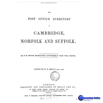 Kelly's Post Office Directory of Cambridge, Norfolk & Suffolk 1875