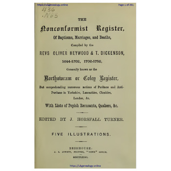 The Non-Conformist Register, Northowram or Coley Register