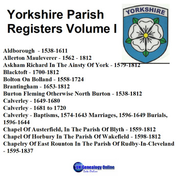 Yorkshire Parish Registers V1
