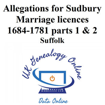 Allegations for Marriage licences 1684-1781 parts 1 & 2