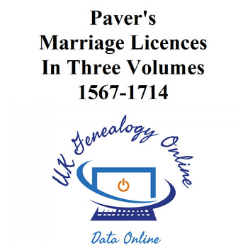 Paver's Marriage Licences 1567-1714