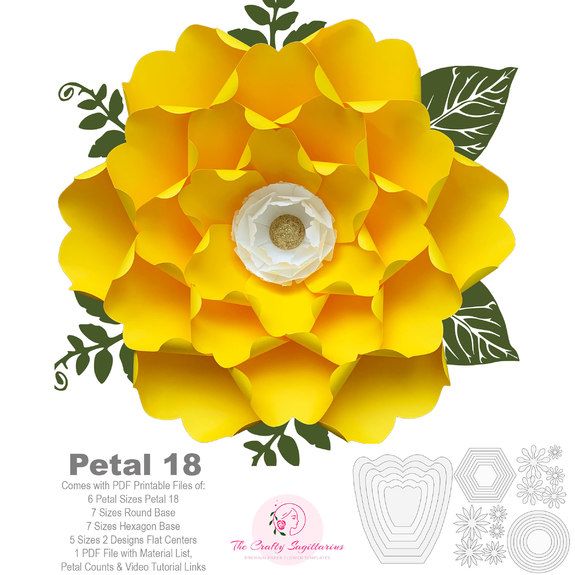 pdf petal 18 diy paper flowers printable template comes with flat center round  u0026 hexagonal base