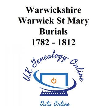 Warewickshire, Warwick St Mary Burials Images 1782-1812
