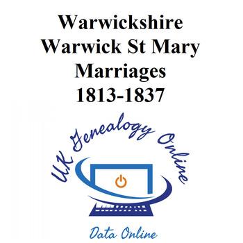 Warwickshire, Warwick St Mary Marriages 1813-1837