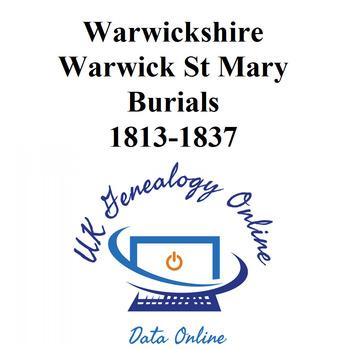 Warwickshire Warwick St Mary Burials Images    1813-1840