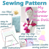 Sewing Pattern -My Warmer Mia Doll - Rag Doll with Rice Warmer Bag